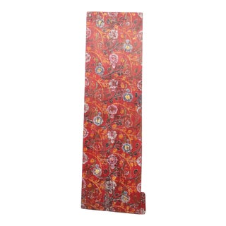 Antique Samye Tibetan Red Floral Door For Sale