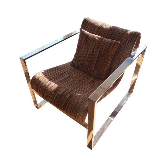 Milo Baughman MCM Chrome Lounge Chair - Image 1 of 9