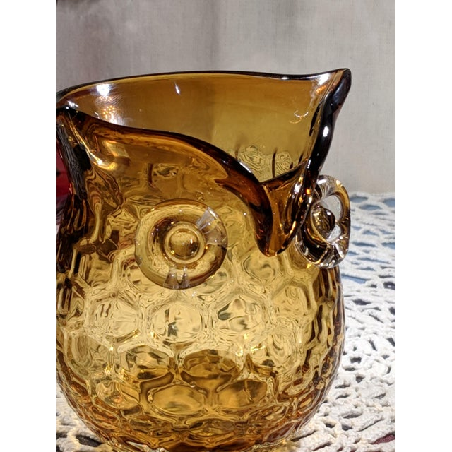Blown Amber Glass Owl Shaped Candle Holder Vase For Sale - Image 11 of 13