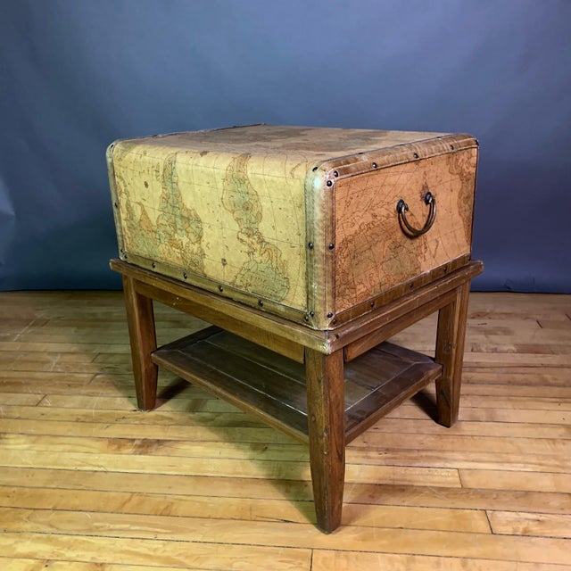 Leather Travel Suitcase Storage Box on Frame, 20th Century For Sale - Image 9 of 12