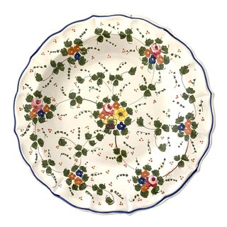 Vintage Italian Ceramic Hand Painted Botanical Serving Tray For Sale
