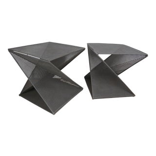 1950's Mathieu Matégot Geometric Side Tables - A Pair For Sale