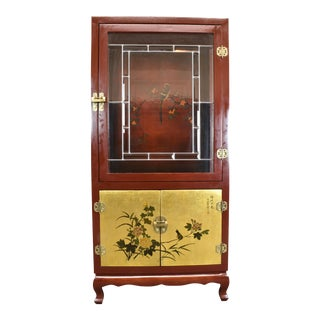 Vintage Chinese Beveled Leaded Trim Glass/Gold Gilt Door Hand Painted Cabinet For Sale