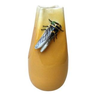 1950 Vintage Jerome Massier Fils Vallauris Majolica Cicada Vase For Sale
