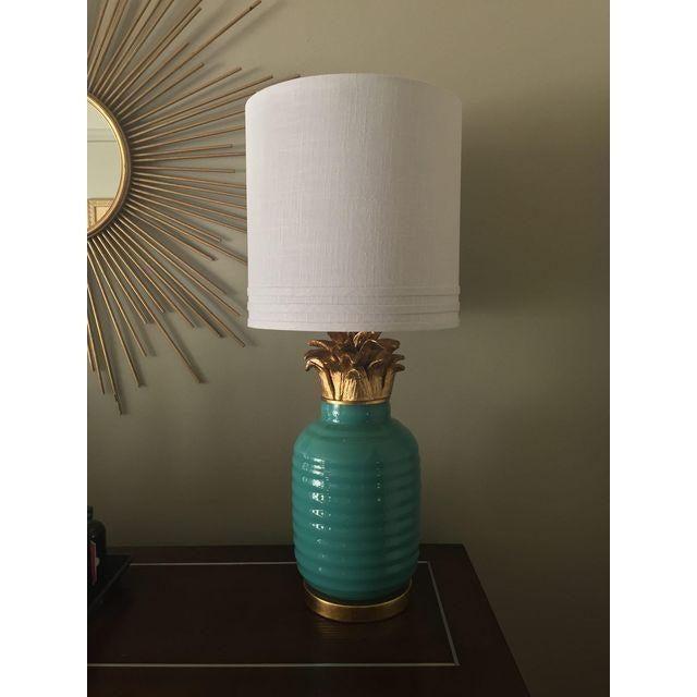 Teal Hollywood Regency Pineapple Lamps - A Pair - Image 2 of 4
