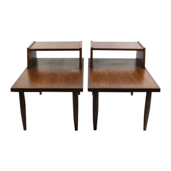 Mid Century Walnut Side Tables - Pair - Image 1 of 4