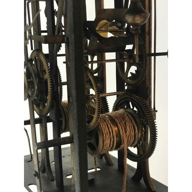Clock Works From 19th Century Long Case Clock Mounted on Stand as Sculpture For Sale - Image 4 of 5
