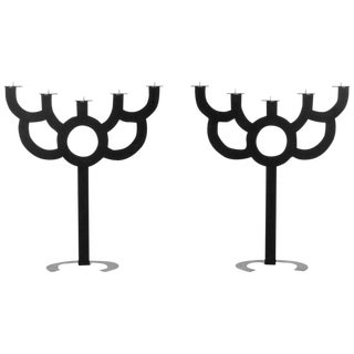 Pr of Post Modern Roderick Vos for Moooi Big Bold Floor Black Metal Candelabras