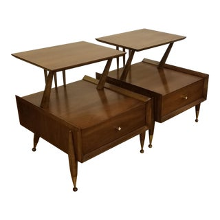 1960s Mid-Century Modern Kent Coffey Walnut and Pecan Night Stands - a Pair For Sale