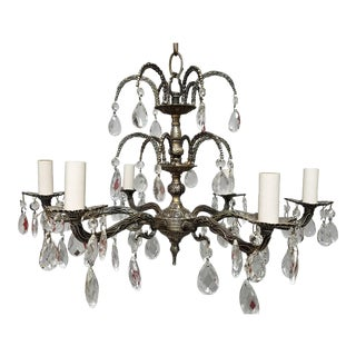 1950s Spanish Cast Brass Chandelier in Silver Leaf Finish For Sale