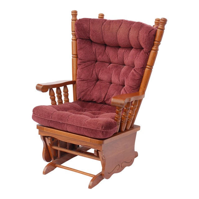 Giselle Solid Wood Glider Rocker with Burgundy Tufted Cushion - Image 1 of 11