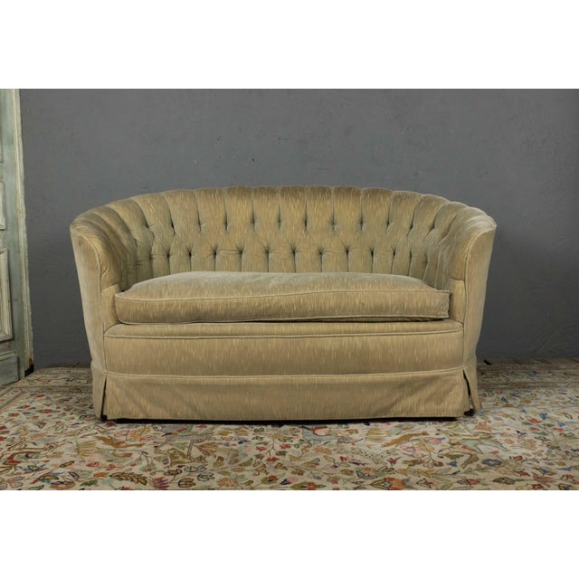 Small Tufted Sofa With Loose Seat Cushion For Sale - Image 4 of 10