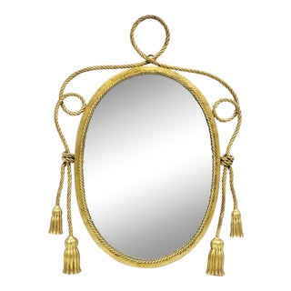 Vintage Italian Hollywood Regency Gold Iron Rope and Tassel Oval Wall Mirror For Sale