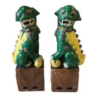 1970s Chinese Style Green and Yellow Porcelain Foo Dogs - a Pair