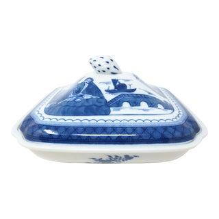 Vista Alegre Mottahedeh Blue Canton Covered Vegetable Bowl For Sale