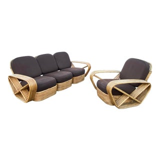 1960s Vintage Paul Frankl Style Rattan Sofa and Armchair Set For Sale