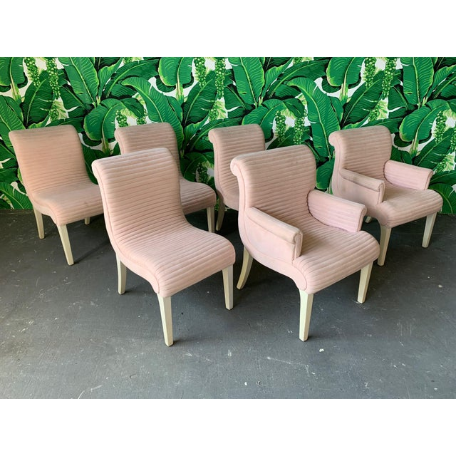 Set of Six Sculptural Pink Tufted Dining Chairs For Sale - Image 11 of 11