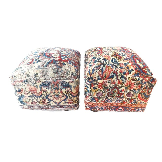 Ottomans Upholstered with Antique Kirman Savonnerie Rug - a Pair For Sale - Image 4 of 7