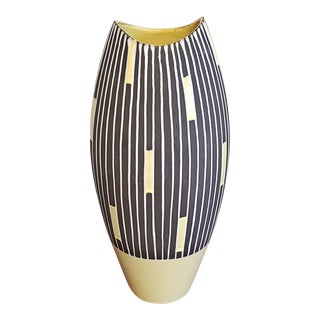 "Tall Schlossberg Keramik ""Staufen' Decor (Variation) Fish Mouth Vase Nr. 202/36 For Sale"