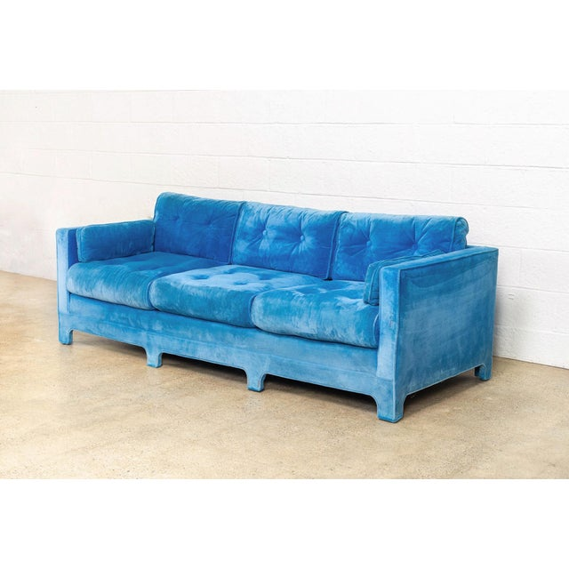 Mid Century Blue Velvet Upholstered Three-Seat Sofa Couch 1970s For Sale - Image 4 of 11