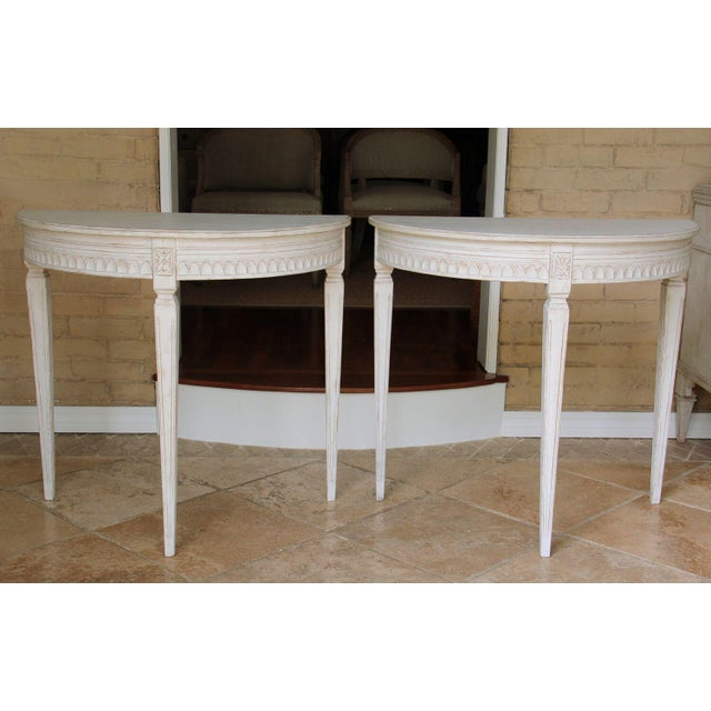 19th Century Pair of Swedish Gustavian Bedside Demilune Console Tables For Sale - Image 9 of 9