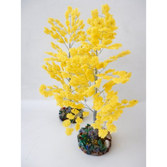 Yellow Quartz & Semi Precious Stone Trees - Pair - Image 2 of 8