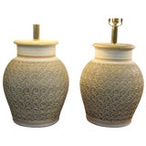 Image of Pair of Ceramic Lamps by Casual Lamps of California For Sale