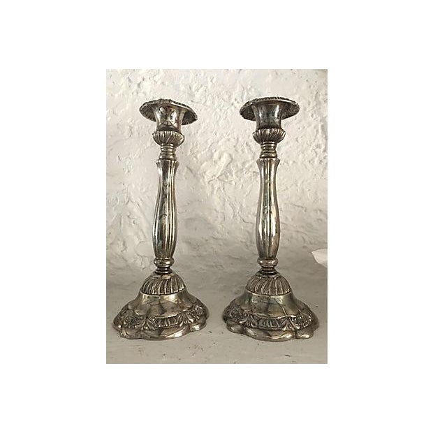 English Traditional English Silver-Plate Candleholder - A Pair For Sale - Image 3 of 3