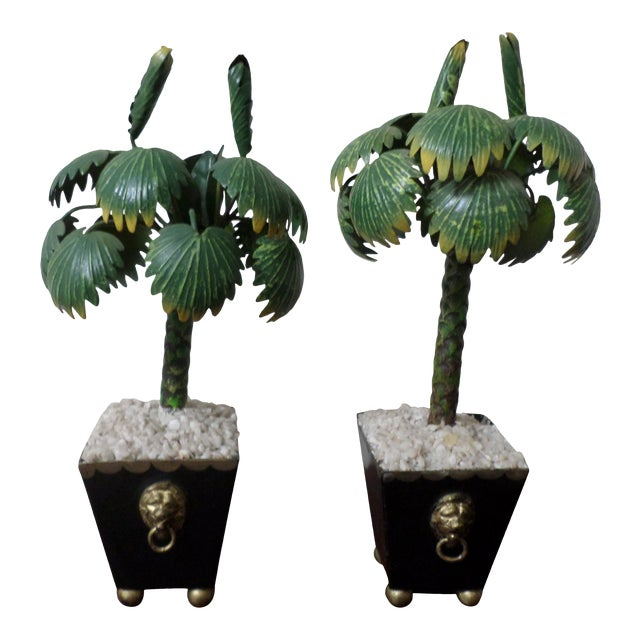 Pair of Hand-Painted Tole Palm Trees in Neoclassical Pots For Sale