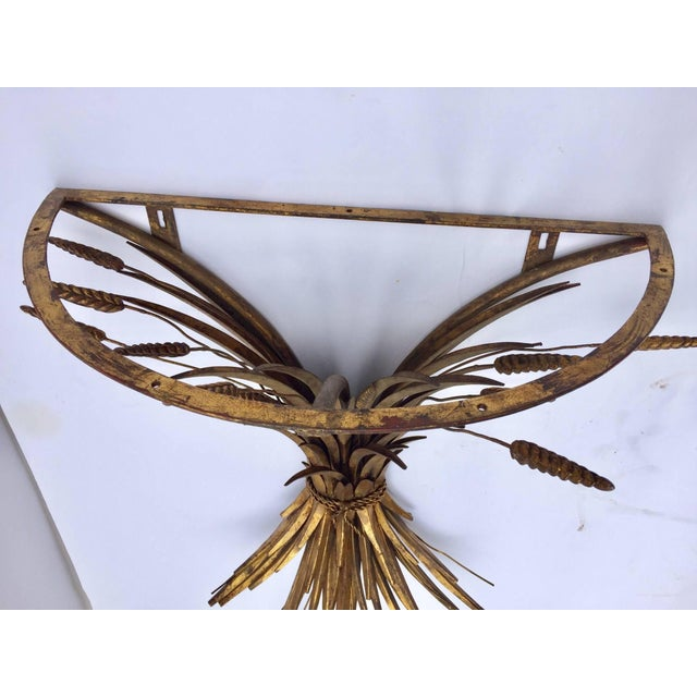 Vintage Gilded Metal Sheaf of Wheat Console Table Base For Sale - Image 4 of 13