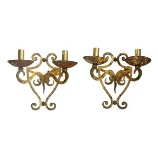 Antique French Distressed Paint Iron Sconces - A Pair