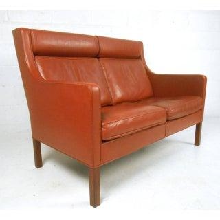 Mid-Century Modern Borge Mogensen Leather Loveseat Sofa Preview
