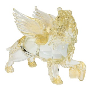 Italian Modern Clear and Amber Glass Winged Recumbent Lion, Murano For Sale