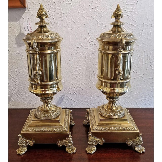 Pair of 19c French Neoclassical Style Brass Garnitures For Sale - Image 10 of 13