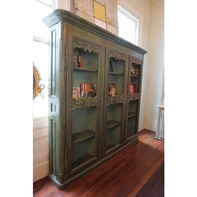 Wood 19th Century French Chicken Wire Painted Bookcase For Sale - Image 7 of 12