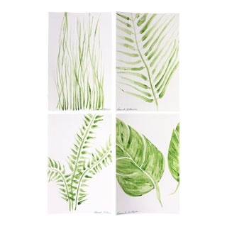 Modern Green Botanical Paintings - Set of 4
