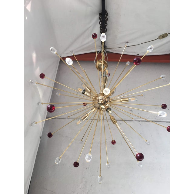 Transparent and Red Murano Glass Triedo and Gold 24k Sputnik Frame For Sale - Image 10 of 13