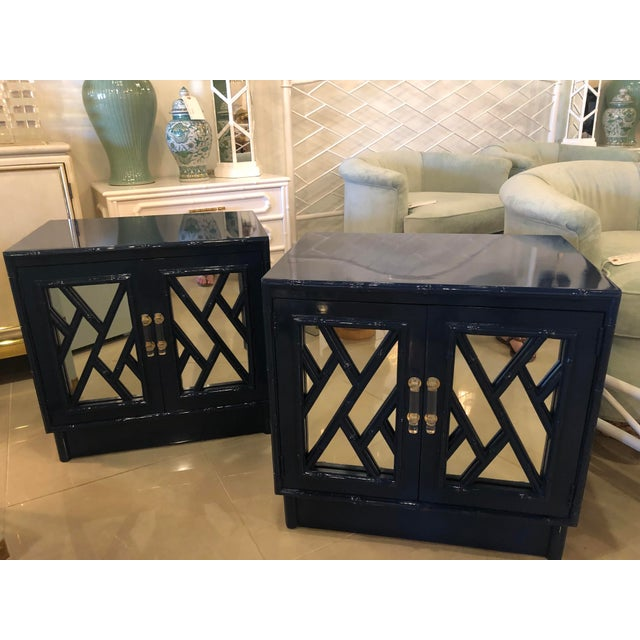 Vintage Chinese Chippendale Navy Lacquered Mirror Lucite Brass Nightstands Chests -A Pair For Sale - Image 12 of 13