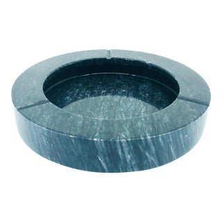 Mid Century Modern Raymor Round Black/Gray Marble Ashtray For Sale