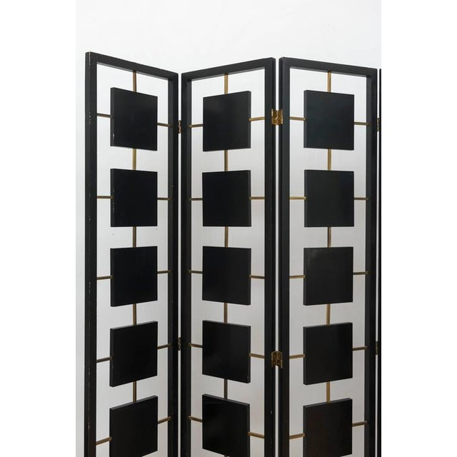 Modern Brass & Black Lacquer Six-Panel Screen For Sale - Image 3 of 11