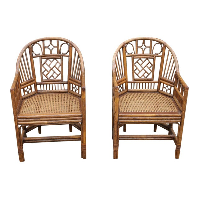 Chinoiserie Bamboo Rattan Brighton Pavilion Chairs With Caning- a Pair For Sale - Image 11 of 11