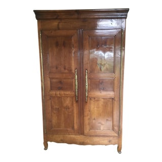 19th Century French Walnut Armoire. Highly Polished Front Doors. Original Brass Hinges.