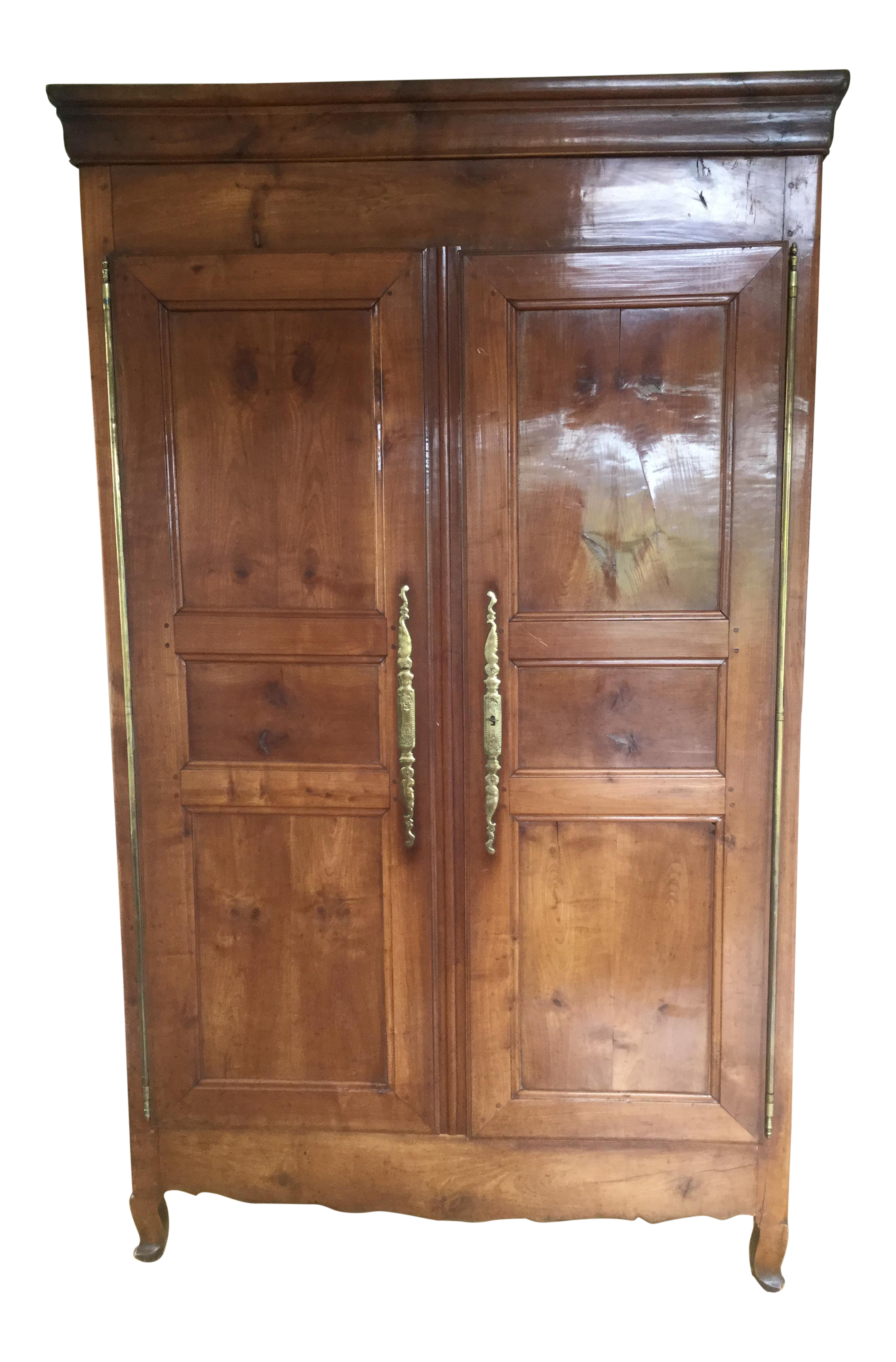 Exceptionnel 19th Century French Walnut Armoire. Highly Polished Front Doors. Original  Brass Hinges.