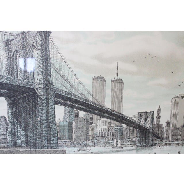 """Glass """"Hail Brooklyn Bridge"""" Print of the Twin Towers For Sale - Image 7 of 9"""