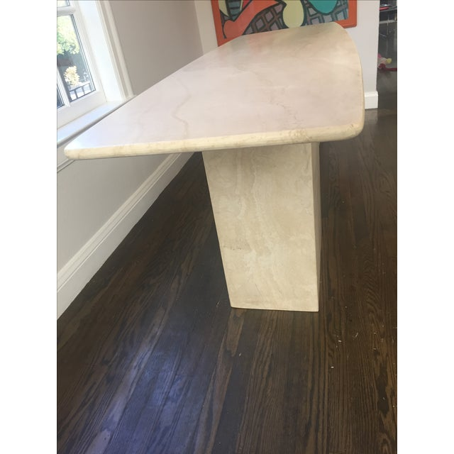 Italian Travertine Marble Console Table - Image 3 of 8