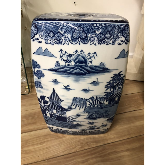 Chinoiserie 1980s Chinoiserie Blue & White Pagoda Garden Stool For Sale - Image 3 of 9