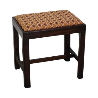 Chippendale Style Solid Mahogany Stool For Sale
