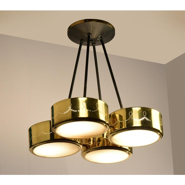 Brass Gerald Thurston for Lightolier Four Shade Chandelier, Circa 1950's For Sale - Image 7 of 9