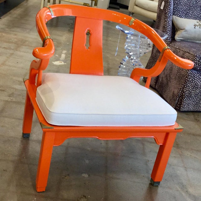 Mid 20th Century Mid 20th Century Orange Lacquer Ming Chairs - a Pair For Sale - Image 5 of 7