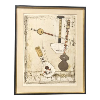 Vintage Mid-Century String Instruments Print For Sale